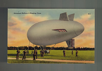 Mint WW 1 US Army Soldiers RPPC Color Linen Postcard Motorized Balloon and - Mint Colored Balloons