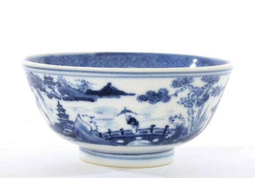 Early 19th Century Chinese Blue & White Porcelain Bowl Figure Figurine River