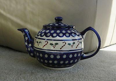 Polish pottery stoneware Boleslawiec tea pot candy cane