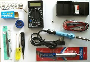 NEW GADGETCITY ELECTRONICS TECH KIT SOLDERING IRON DIGITAL MULTIMETER,STAND ETC