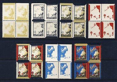 1943 USA Christmas Seal Progressive Proofs BLOCKS (7) . Mint Never Hinged