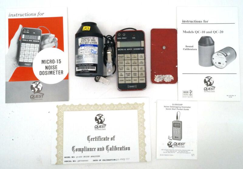 Working Quest Micro-15 Noise Dosimeter W/ QC-10 Calibrator/Manuals/Mic