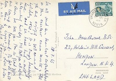 XX4245 Ukunda Mombasa cds July 1965 air postcard UK; 65c Uhuru stamp