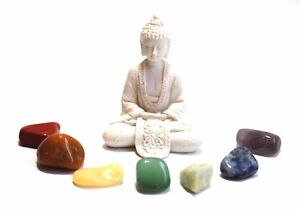 REIKI ENERGY CHARGED CHAKRA TUMBLE STONE SET OF 7 STONES WITH WHITE BUDDHA