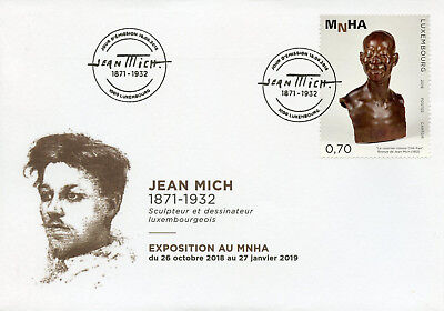 Luxembourg 2018 FDC Jean Mich Exposition at MNHA 1v Cover Sculpture Art Stamps