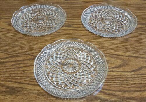 """Lot of 3 Anchor Hocking Wexford Crystal Scallop Edge 9 1/2"""" Dinner Plates EUC"""