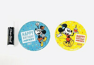 Happy Birthday Button (Happy Birthday Mickey Mouse 2018 Disney Parks Button Lot Of 2 Pin Disneyland)