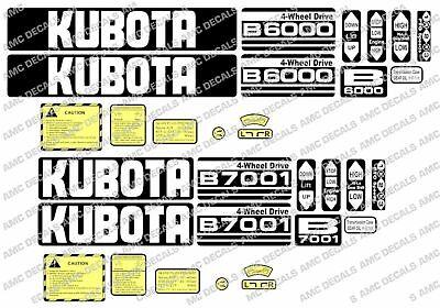 Kubota B6100 B6000 B6001 B7000 B7100 B5000 Compact Tractor Decals Sticker Set