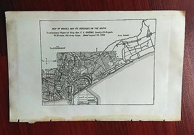 1898 Sketch Map Manila Philippines Defenses Gen F.V. Greene Spanish American War