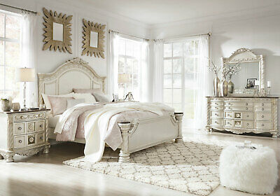 NEW Old World Pearl Silver Bedroom Furniture - 5pcs King Size Panel Bed Set IA1O