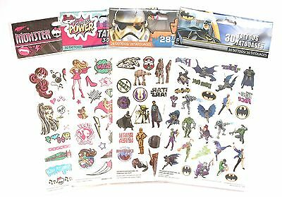Power Temporary Tattoos (NEW 110 pcs Temporary Tattoos - Star Wars, Batman, Princess Power, Monster High )