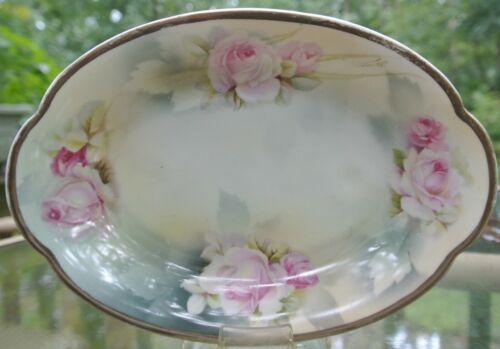 Vintage Crown Bird Prussia mark Pink Rose Floral Relish Dish Signed