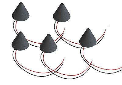 5 Stück ddt E-Drum Triggerkegel + Piezo Sensor schwarz Cushion Konus cone Kegel
