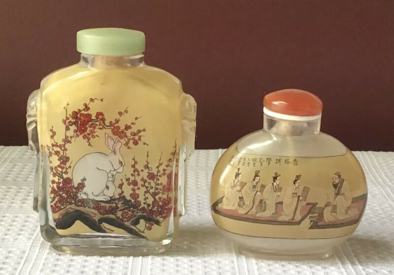 Lot of 2 Vintage Chinese Snuff Bottles