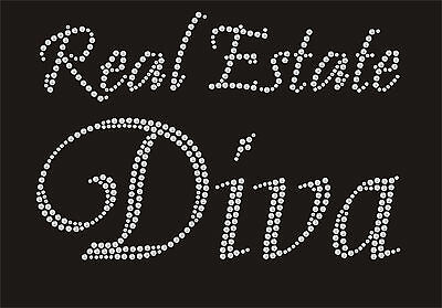 (Real Estate DIVA Rhinestone iron on transfer Color red, green royal blue, gold, )