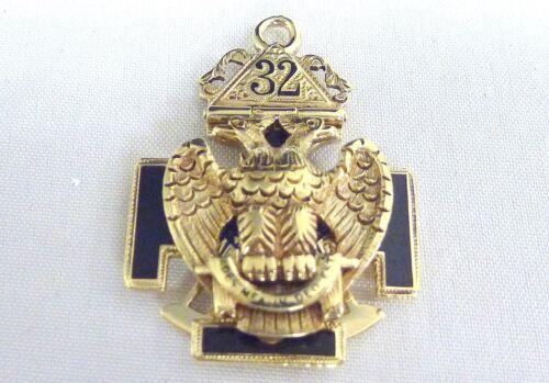 "Vintage 14kt yg 32 Masonic Throne Cross Crown Compass watch fob 1 5/16"""