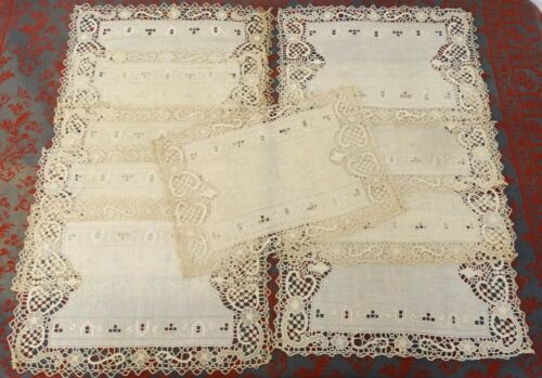 ANTIQUE NEEDLE LACE ECRU LINEN SET 10 PLACEMATS HAND MADE EMBORIDERED