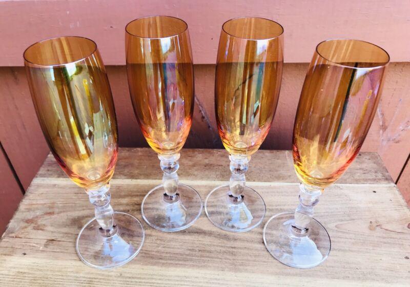 Amber Orange Carnival Glass Vintage Champagne Flutes Set of 4