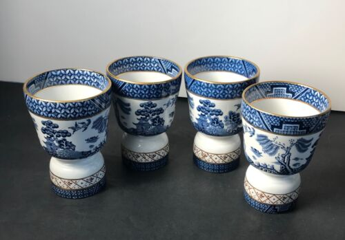 Booths Real Old Willow Blue Double Egg Cup Hand Painted Pristine