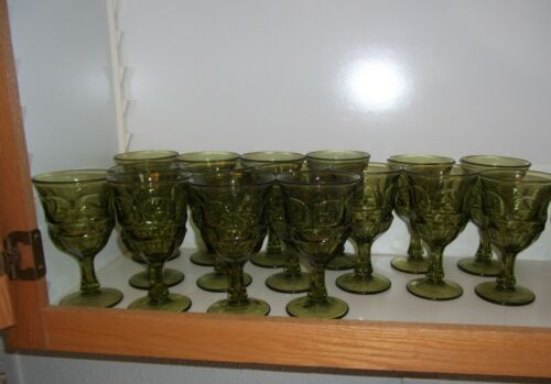 Fostoria ARGUS large green water goblets set of 14.