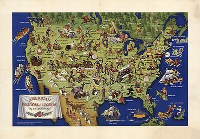1950 PICTORIAL map American folklore and Legends POSTER 8114