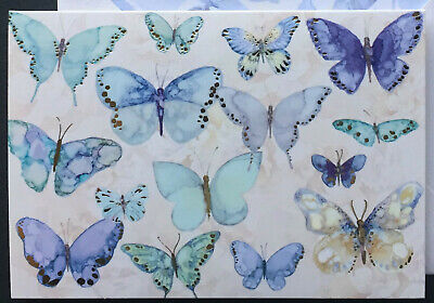 Punch Studio set 4 blank note cards blue butterfly gold foil embellished lot