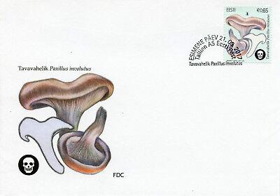 Estonia 2017 FDC Mushrooms Brown Roll-Rim 1v Set Cover Fungi Nature Stamps