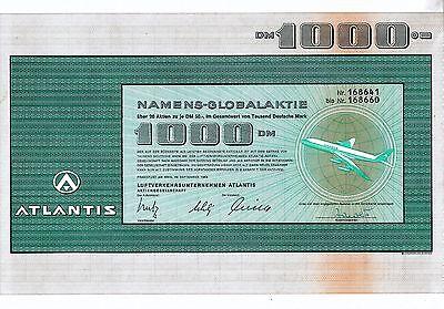ATLANTIS AG Luftverkehrsunternehmen 1969 (1.000 DM) + Coupons