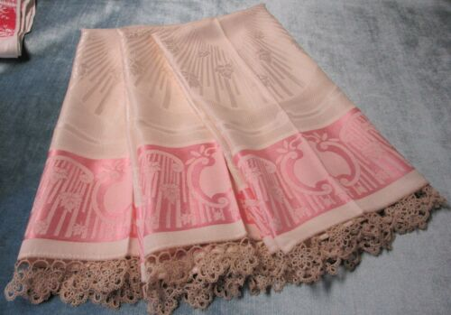 Antique 3 Pink & Ivory Damask Towels Beautiful Hand Tatted Trim Flowers Scrolls