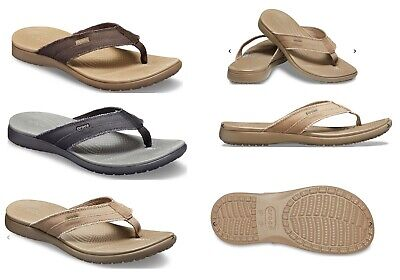 Mens CROCS Santa Cruz Canvas Vegan Flip Flop Sandals, Black, Khaki, Brown - Khaki Mens Sandals