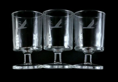 4 Vintage Piedmont Airlines WINE GLASSES speed bird logo - FREE SHIPPING
