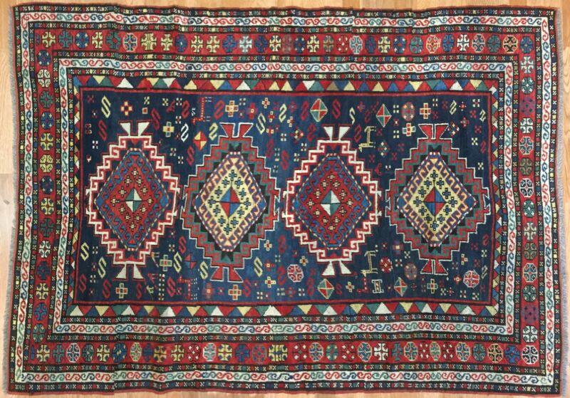 Classic Caucasian - 1900s Antique Kazak Rug - Tribal Carpet - 4.6 X 6.3 Ft.