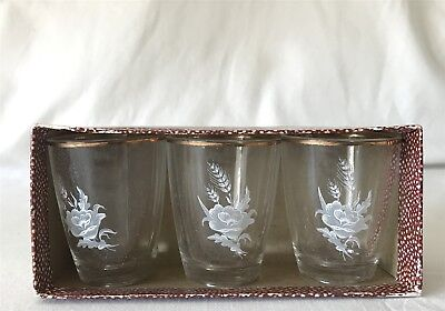 3 Boxed Matching Vintage Small Glasses Wheat, Flower, Oak Leaf Design c1950's