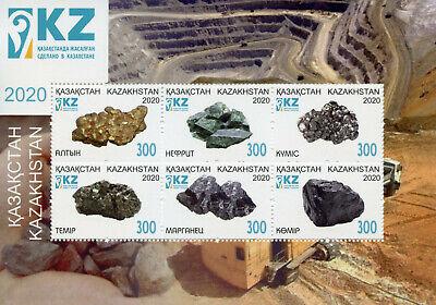Kazakhstan 2020 MNH Minerals Stamps Nature 6v M/S