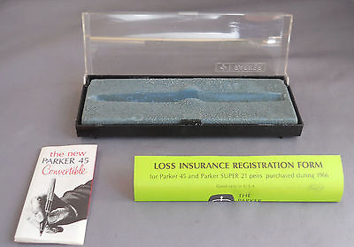 Parker 45 Plastic Pen Box--l966 with loss form and instructions