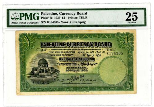 "Palestine .. P-7c ... 1 Pound ... 1939 ... Choice *VF+* PMG 25  ... Prefix ""K""."