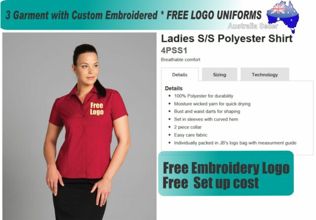 3 Custom JB Ladies Blouses  with Your Embroidered * FREE YOUR  LOGO UNIFORMS *