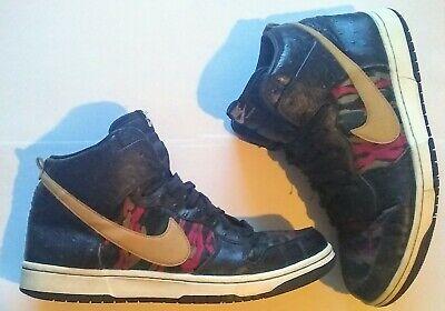 Men's Nike dunk high cmft Tiger Camo premium QS size uk 9 us 10 black gold green