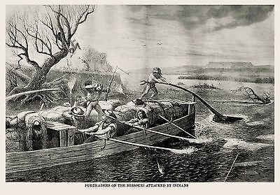 MACKINAW BOAT FUR TRADERS, INDIANS ATTACK on MISSOURI RIVER, Indian 1868