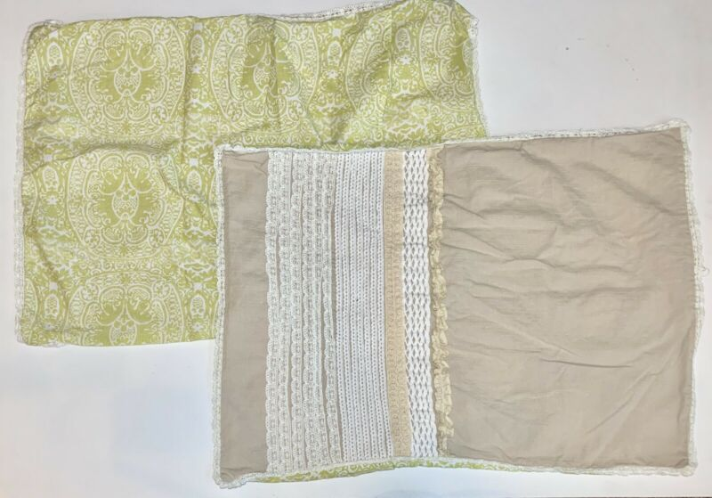 Pair Of Country Living Ruffle Lace Linen Envelope Pillow Shams