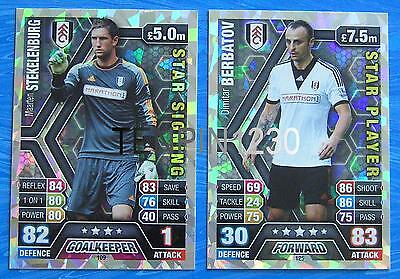 MATCH ATTAX 2013/2014 FULHAM STAR PLAYER & STAR SIGNING CARDS