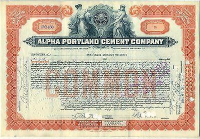 Alpha Portland Cement Company Stock Certificate New Jersey