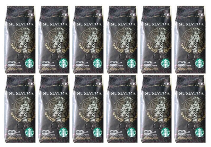 LOT OF 12 - Starbucks Sumatra Whole Bean Dark Roast Coffee 8.8 Oz Each BBD 6/20