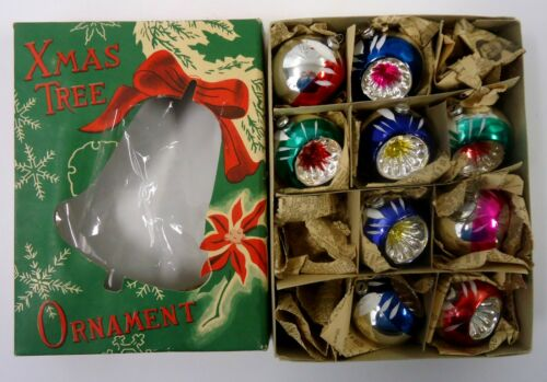 Vtg Pre-WW11 Indent Christmas Ornaments Original Box (9) Japan
