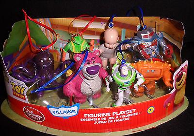 Disney Buzz Lightyear Lotso Bear Christmas Ornaments Figures 7pc Toy Story Set