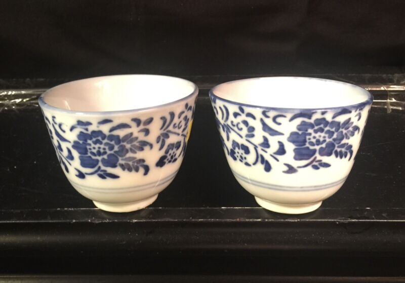 Pair of Blue & White Chinese Porcelain Tea Or Wine Cups