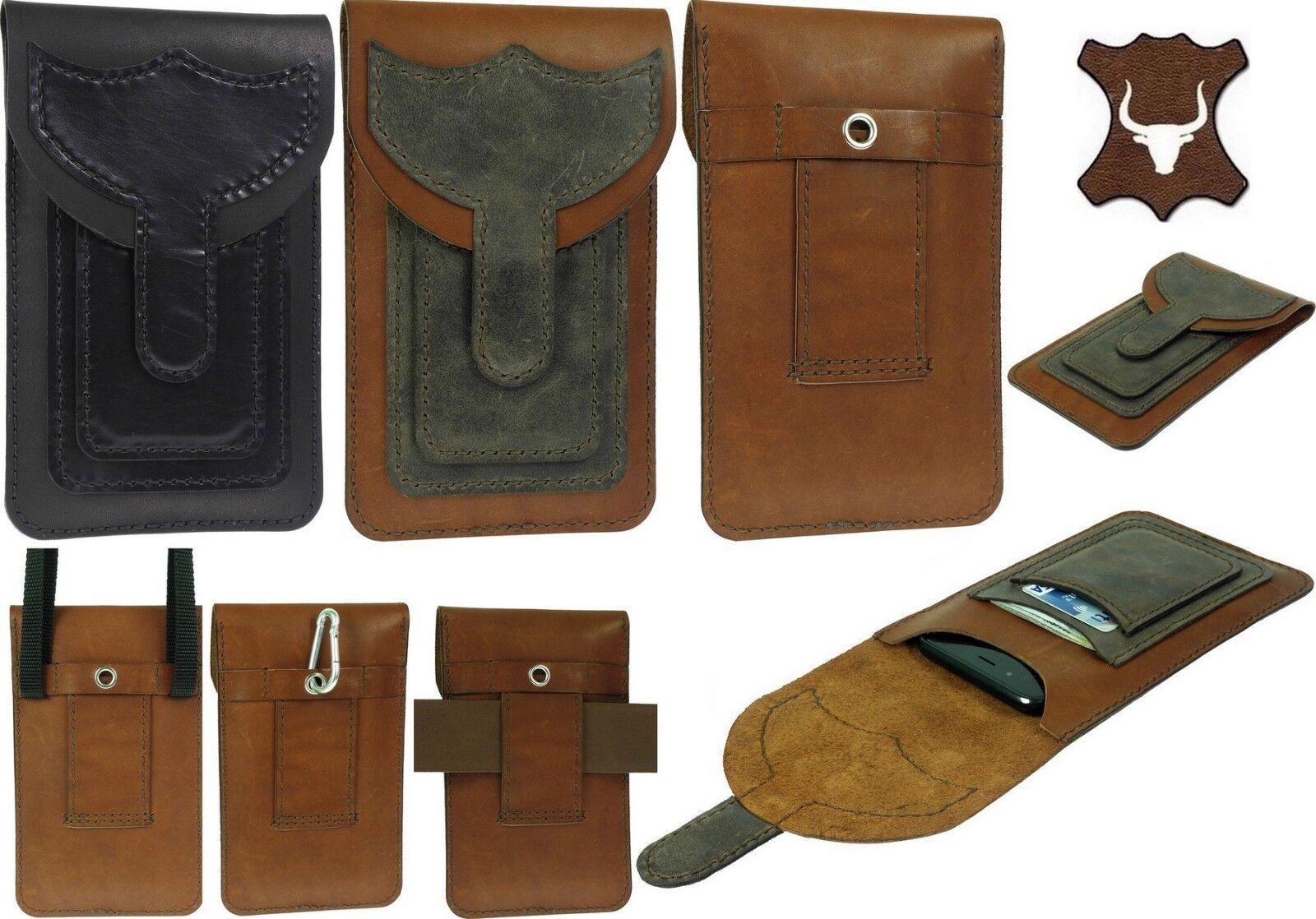 Handgefertigt Echtes Leder Gürteltasche mit 2 Taschen - Schutzhülle für Handys