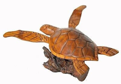 HAND CARVED WOOD TURTLE CORAL STAND LOG NAUTICAL ART SCULPTURE REPTILE TROPICAL