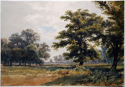 Künstler 1863: Aquarell Landschaft Bäume Sommertag weite Parklandschaft datiert