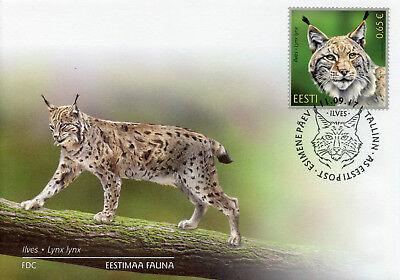 Estonia 2017 FDC Estonian Fauna Lynx 1v Set Cover Wild Animals Stamps